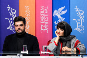 Iranian actor Sam Derakhshani and Iranian actress Linda Kiani are present in the in the press conference of the Fajr Film Festival, Iran, Tehran, February 5.