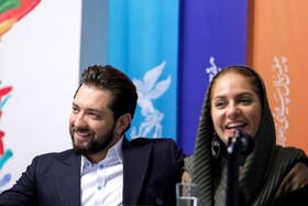 Iranian actress Mahnaz Afshar and Iranian actor Bahram Radan are present in the press conference of 37th Fajr Film Festival, Iran, Tehran, February 10, 2019.