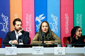 Iranian actress Mahnaz Afshar (M) and Iranian actor Bahram Radan are present in the press conference of 37th Fajr Film Festival, Iran, Tehran, February 10, 2019.