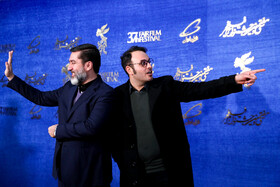 The director of 'Midday Adventures: Blood Trap' Mohammad Hossein Mahdavian (R) is present on the 10th day of 37th Fajr Film Festival, Iran, Tehran, February 10, 2019.