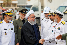 """Unveiling ceremony of Iran's """"Fateh Submarine"""" in presence of Iranian President Hassan Rouhani, Iran, Bandar Abbas, February 17, 2019."""