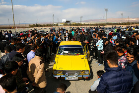 Classic, sports cars displayed in Qom, Iran