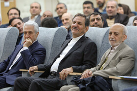 Iranian Vice President Es'haq Jahangiri (M) and Minister of Science, Research and Technology Mansour Gholami (L) are present in 100th anniversary of Kharazmi University's establishment, Iran, Karaj, February 23, 2019.