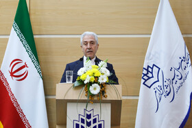 Minister of Science, Research and Technology Mansour Gholami delivers a speech in 100th anniversary of Kharazmi University's establishment, Iran, Karaj, February 23, 2019.
