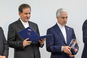 Iranian Vice President Es'haq Jahangiri (L) and Minister of Science, Research and Technology Mansour Gholami are present in 100th anniversary of Kharazmi University's establishment, Iran, Karaj, February 23, 2019.
