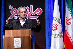 Deputy Speaker Masoud Pezeshkian delivers a speech during unveiling ceremony of Iran's new banking products in 'Melli Show 2' event, Iran, Tehran, February 24, 2019.