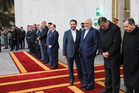 Iranian Foreign Minister Mohammad Javad Zarif is present during welcoming ceremony for Armenian PM, Iran, Tehran, February 27, 2019.