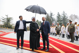 Armenian PM Nikol Pashinyan is received warmly by Iranian President Hassan Rouhani, Iran, Tehran, February 27, 2019.