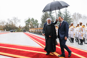 Armenian PM Nikol Pashinyan (R) is received warmly by Iranian President Hassan Rouhani, Iran, Tehran, February 27, 2019.
