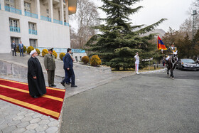 Iranian President Hassan Rouhani (L) is present in welcoming ceremony for Armenian PM, Iran, Tehran, February 27, 2019.