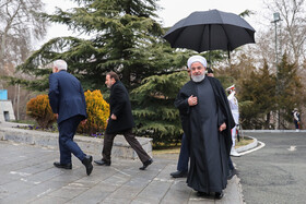 Iranian President Hassan Rouhani (R) is present in welcoming ceremony for Armenian PM, Iran, Tehran, February 27, 2019.