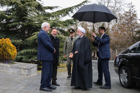 Iranian Foreign Minister Mohammad Javad Zarif and Iranian President Hassan Rouhani are present during welcoming ceremony for Armenian PM, Iran, Tehran, February 27, 2019.