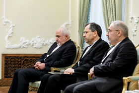 Mr Zarif (L) is present in the meeting between Iranian President Hassan Rouhani and Azerbaijani Foreign Minister Elmar Mammadyarov, Iran, Tehran, March 9, 2019.