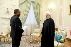 New ambassador of Democratic Republic of the Congo (L) is going to present his credentials to Mr Rouhani, Iran, Tehran, March 9, 2019.