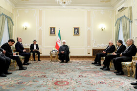 Azerbaijani Foreign Minister Elmar Mammadyarov meets with Iranian President Hassan Rouhani, Iran, Tehran, March 9, 2019.