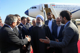 Mr Rouhani arrives in Baghdad, Iraq, March 11, 2019.
