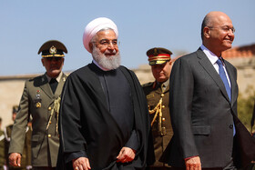 Iranian President Hassan Rouhani (L) is welcomed by his Iraqi counterpart Barham Salih, Iraq, Baghdad, March 11, 2019.