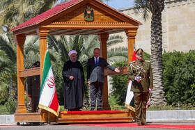 Iranian President Hassan Rouhani is welcomed by his Iraqi counterpart Barham Salih, Iraq, Baghdad, March 11, 2019.