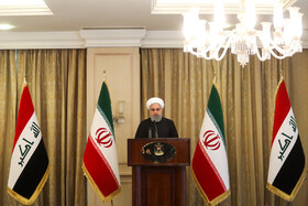 Mr Rouhani delvers a speech during his meeting with Iraq's religious and nomadic figures and the heads of tribes, Iraq, March 12, 2019.