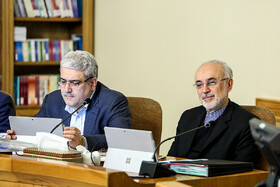 Head of Iran's Atomic Energy Organization Ali-Akbar Salehi (R) is present in Iran's cabinet meeting, Iran, Tehran, March 13, 2019.