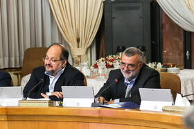 Minister of Cooperatives, Labour and Social Welfare Mohammad Shariatmadari (L) is present in Iran's cabinet meeting, Iran, Tehran, March 13, 2019.
