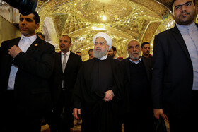 Iranian President Hassan Rouhani goes on a pilgrimage to Imam Ali Holy Shrine, Iraq, Najaf, March 13, 2019.
