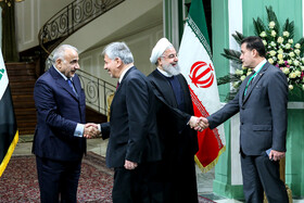 Iranian President Hassan Rouhani welcomes Iraq's high-ranking delegation, Iran, Tehran, April 6, 2019.