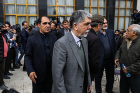 Minister of Culture and Islamic Guidance Abbas Salehi is present in the funeral ceremony of Iran's veteran actor Jamshid Mashayekhi, Iran, Tehran, April 6, 2019.