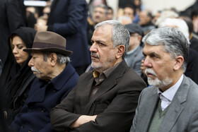 Minister of Culture and Islamic Guidance Abbas Salehi (R) is present in the funeral ceremony of Iran's veteran actor Jamshid Mashayekhi, Iran, Tehran, April 6, 2019.