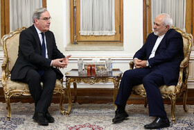 Meeting between Iranian FM Mohammad Javad Zarif and new French ambassador to Tehran Philippe Thiebaud, Tehran, Iran, April 14, 2019.