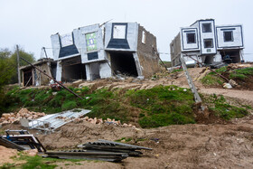 Houses are gong to fall down because of landslides in Hussain Abad Village, Meyami County, Semnan, Iran, April 14, 2019. There are currently about 570 houses of the village in danger of falling down.