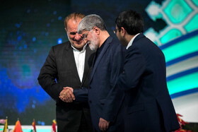 Member of Iran's Parliament Ali Motahari (M) is present in the closing ceremony of the 36th International Quran Contests, Tehran, Iran, April 14, 2019.