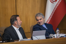 Iranian President's Chief of Staff Mahmoud Vaezi (L) and Head of Iran's Management and Planning Organization Mohammad Baqer Nobakht are present in Iran's cabinet meeting, Tehran, Iran, April 17, 2019.