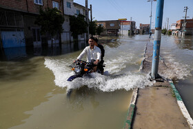 Aq Qala City is inundated by flood again, Golestan, Iran, April 28, 2019. levees which have been built in Aq Qala City of Golestan Province were broken so that the city and its villages were inundated by flood waters.