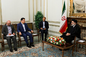 Syrian Ambassador Adnan Hassan Mahmoud holds a meeting with Iran's Judiciary Chief Ebrahim Raisi, Tehran, Iran, May 7, 2019.