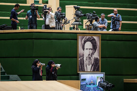 Photographers and cameramen are present in the public session of Iran's Parliament, Tehran, Iran, May 12, 2019.
