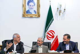 Iran's First-Vice President Es'haq Jahangiri  (R) and Minister of Science, Research and Technology Mansour Gholami (M) are present in the session of the Supreme Council for Science, Research and Technology, Tehran, Iran, May 14, 2019.