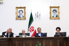Iran's First-Vice President Es'haq Jahangiri  (2nd, R) and Minister of Science, Research and Technology Mansour Gholami (3rd, R) are present in the session of the Supreme Council for Science, Research and Technology, Tehran, Iran, May 14, 2019.