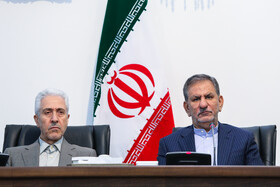 Iran's First-Vice President Es'haq Jahangiri  (R) and Minister of Science, Research and Technology Mansour Gholami are present in the session of the Supreme Council for Science, Research and Technology, Tehran, Iran, May 14, 2019.