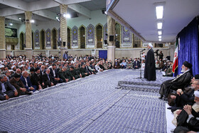 Iranian President Hassan Rouhani gives a speech during the meeting of authorities with Supreme Leader, Tehran, Iran, May 14, 2019. On the eighth day of the auspicious month of Ramadan, the heads of power branches, officials and government authorities as well as a group of senior managers of various sectors, members of parliament, political, social and cultural activists met with the Leader of the Islamic Revolution Ayatollah Ali Khamenei.