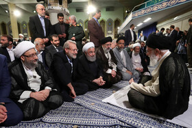 Meeting of authorities with Supreme Leader, Tehran, Iran, May 14, 2019. On the eighth day of the auspicious month of Ramadan, the heads of power branches, officials and government authorities as well as a group of senior managers of various sectors, members of parliament, political, social and cultural activists met with the Leader of the Islamic Revolution Ayatollah Ali Khamenei.