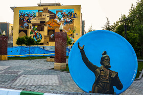 """Paintings of Ferdowsi and Shahnameh in Fareghotahsilan Boulevard, Mashhad, Iran, May 15, 2019. May 15 is the """"National Ferdowsi Day"""" and also the """"Persian Language Day"""" in Iran."""