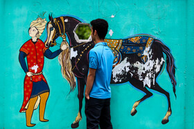Paintings of the stories of Shahnameh are seen on the walls, Mashhad, Iran, May 15, 2019. Effects of Ferdowsi and his long epic poem, Shahnameh, in Persian language and Iranian culture are undisputable.