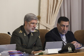 Iranian Minister of Defense Brigadier General Amir Hatami (L) and  Iranian Justice Minister Alireza Avayi are present in Iran's cabinet session, Tehran, Iran, May 15, 2019.