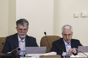 Minister of Culture and Islamic Guidance Abbas Salehi (L) and Minister of Science, Research and Technology Mansour Gholami are present in Iran's cabinet session, Tehran, Iran, May 15, 2019.