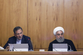 Iranian President Hassan Rouhani (R) and Iranian First-Vice President Es'haq Jahangiri are present in Iran's cabinet session, Tehran, Iran, May 15, 2019.