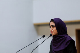 A students delivers a speech in the meeting between Iranian President Hassan Rouhani and the young, Tehran, Iran, May 19, 2019.