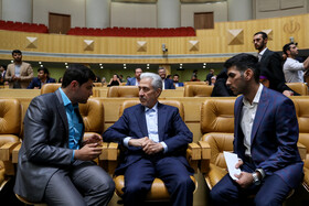 Iran's Minister of Science, Research and Technology Mansour Gholami (M) is present in a meeting between Iranian President Hassan Rouhani and the young, Tehran, Iran, May 19, 2019.