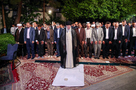 Iran's Supreme Leader Ayatollah Ali Khamenei and a number of Persian language professors, poets say prayers, Tehran, Iran, May 20, 2019.