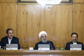 Iranian President Hassan Rouhani (M), Iranian First-Vice President Es'haq Jahangiri (L) and Iranian President's Chief of Staff Mahmoud Vaezi are present in Iran's cabinet session, Tehran, Iran, May 22, 2019.